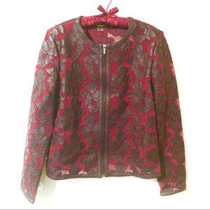 BAGATELLE Burgundy Leather Rose Mesh Jacket